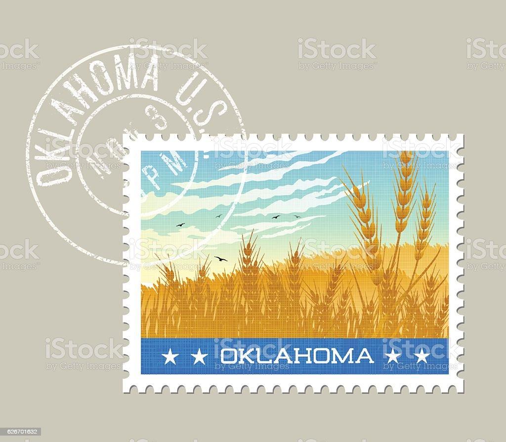 Vector illustration of wheat fields and sky in Oklahoma vector art illustration