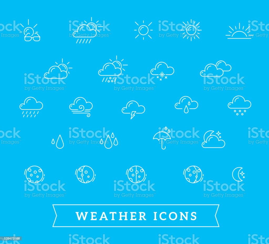 Vector illustration of white weather theme icon set on blue vector art illustration