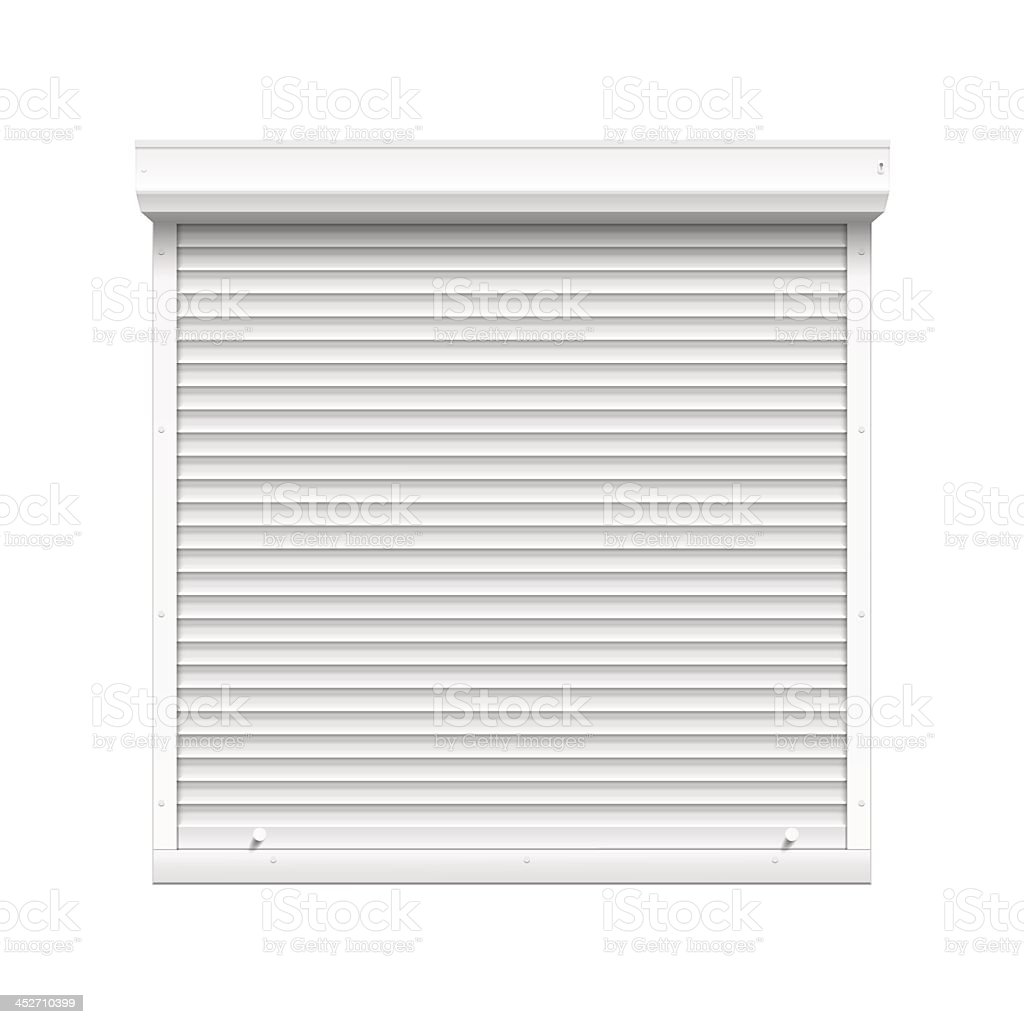 Vector illustration of window with closed rolling shutters vector art illustration