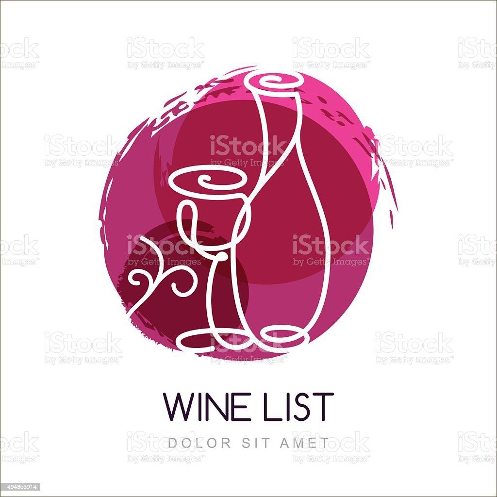 Vector illustration of wine bottle and glass in watercolor splash. vector art illustration