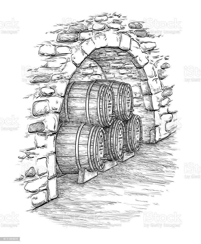 Vector illustration of wine cellar. vector art illustration