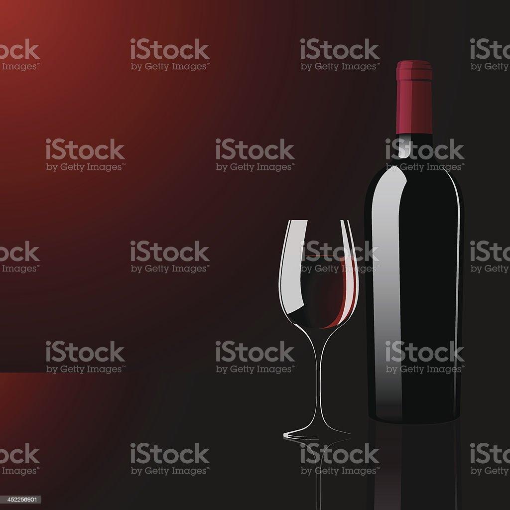 vector illustration of wine glass and bottle vector art illustration