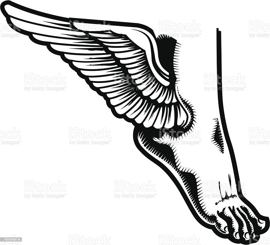Vector illustration of winged foot vector art illustration