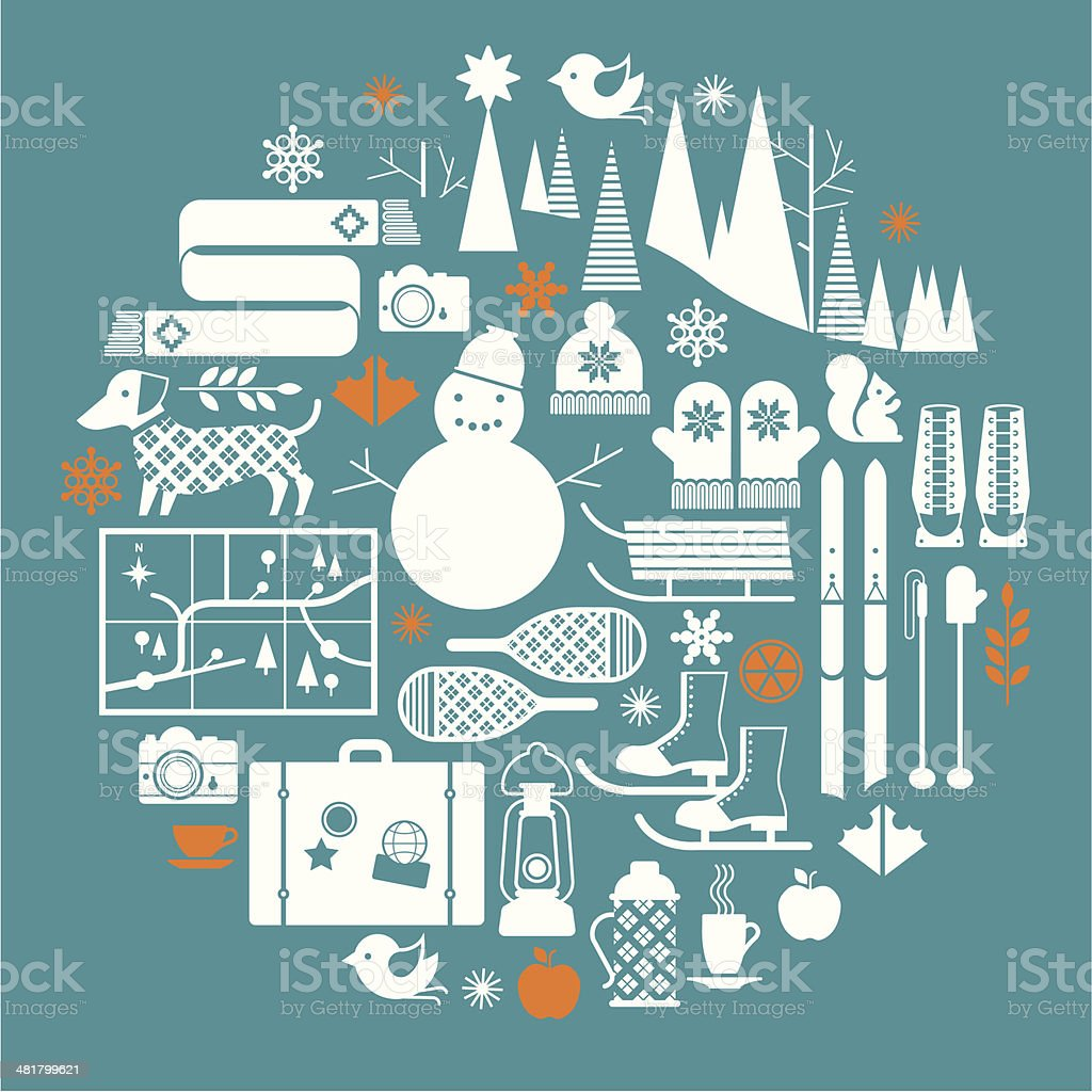 Vector illustration of winter sports icons royalty-free stock vector art