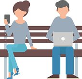 Vector illustration of woman and man sitting on the bench