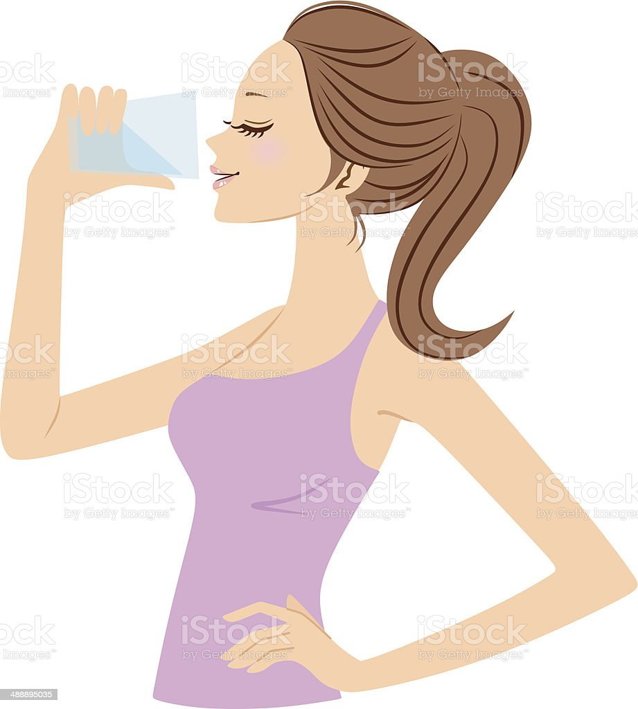 Vector illustration of woman drinking water royalty-free stock vector art