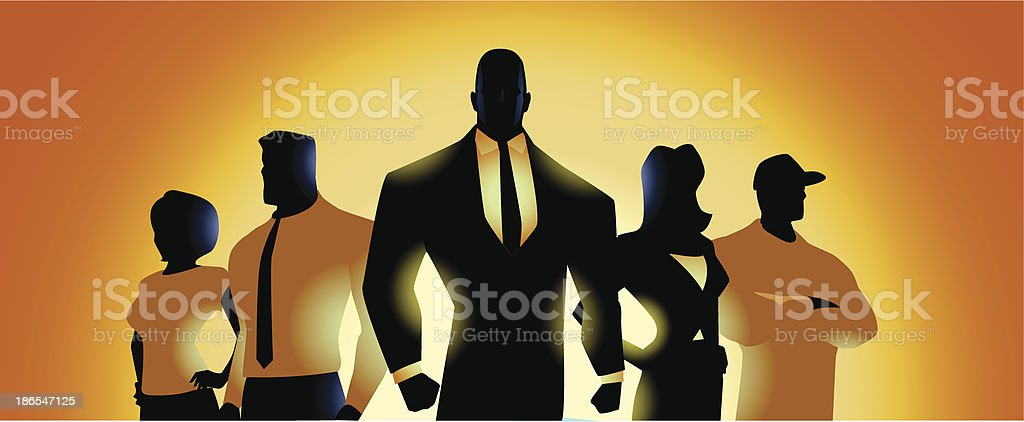 Vector illustration of workers in silhouette vector art illustration