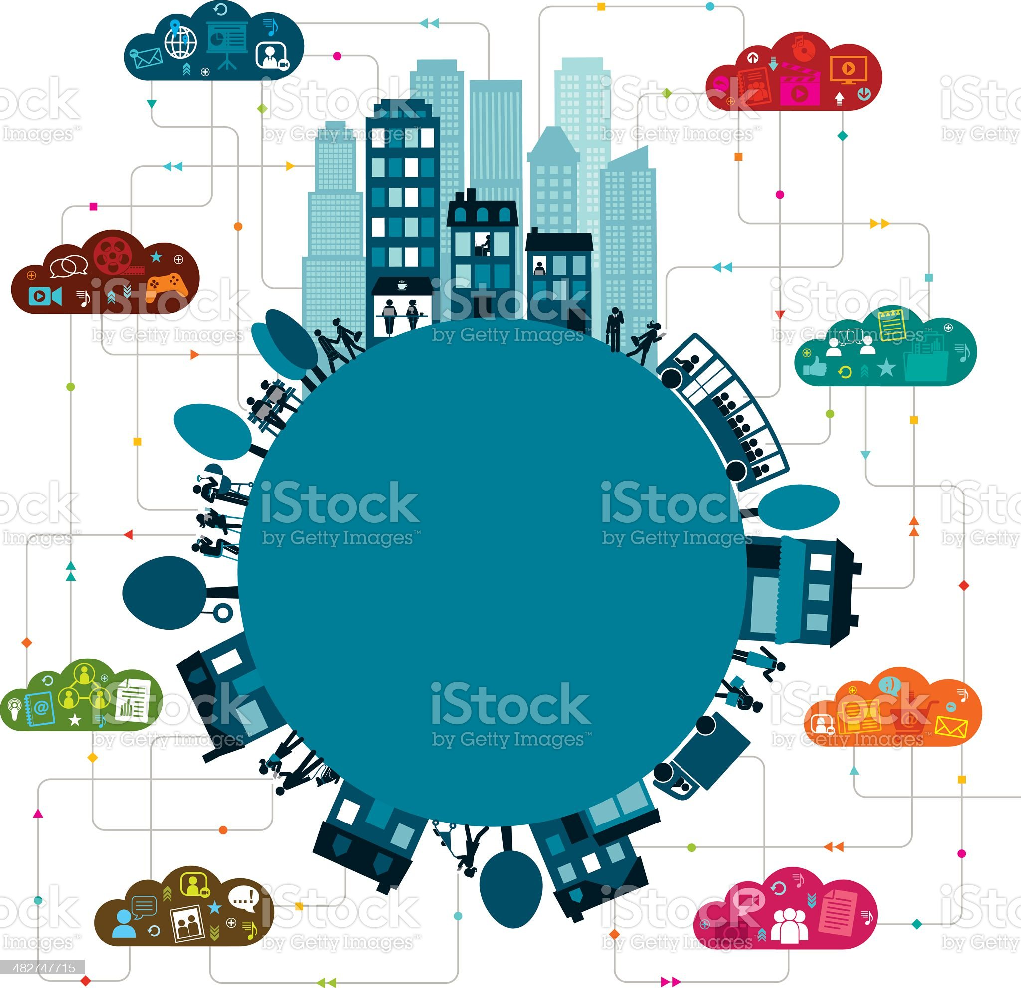 Vector illustration of world with arrows and icons royalty-free stock vector art