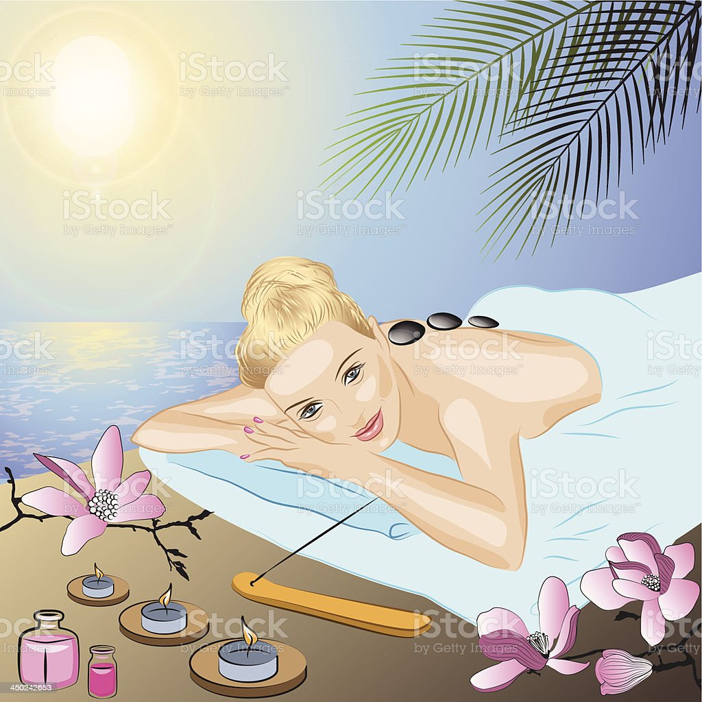 Vector illustration of young beautiful blonde in spa royalty-free stock vector art