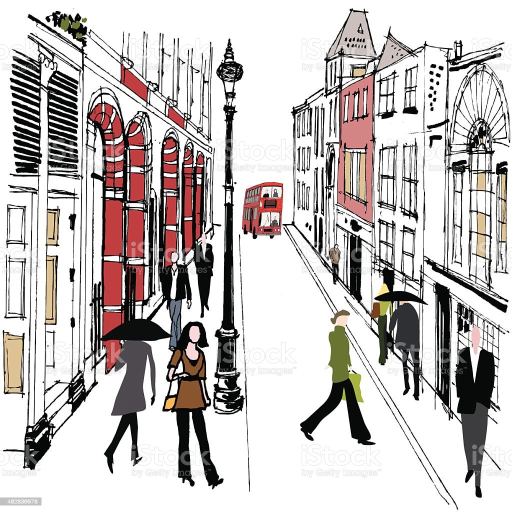Vector illustration old London buildings and pedestrians vector art illustration