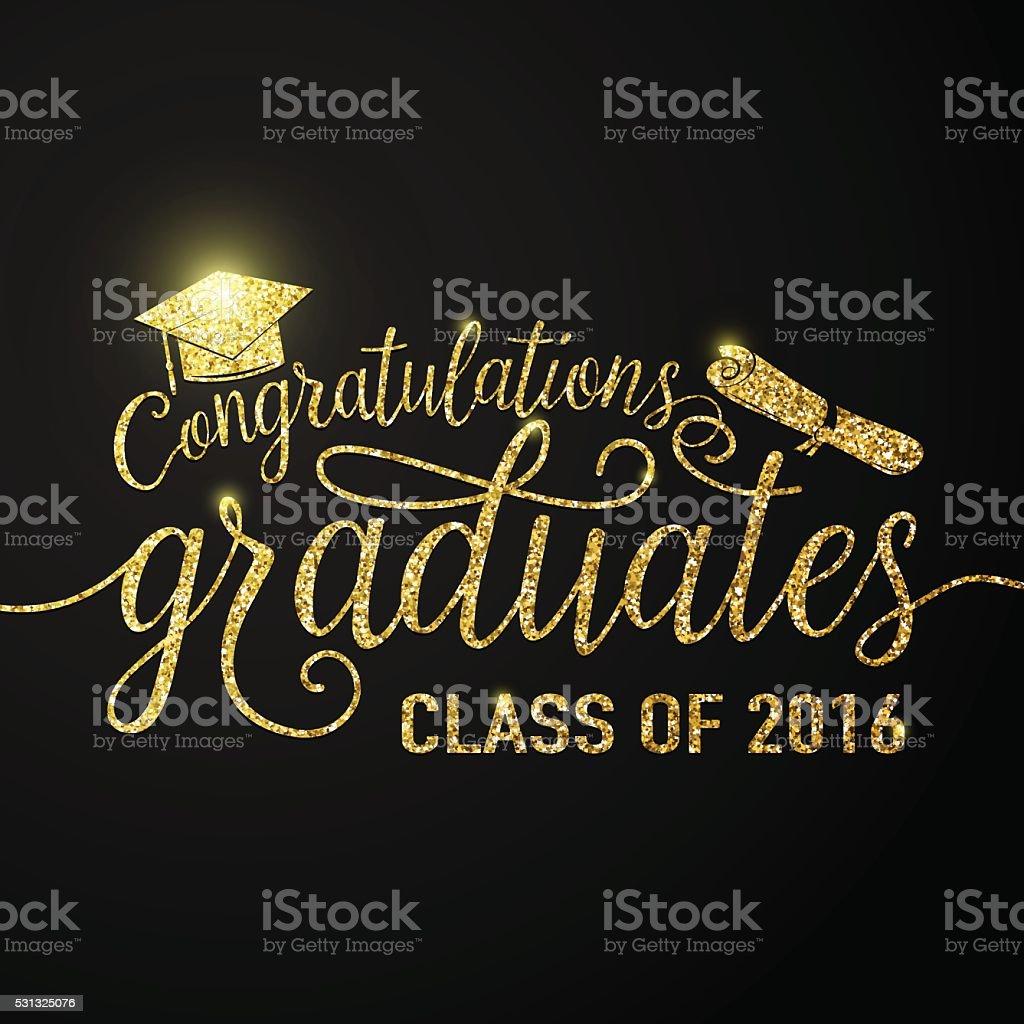 Vector illustration on black graduations background congratulations graduates 2016 class vector art illustration