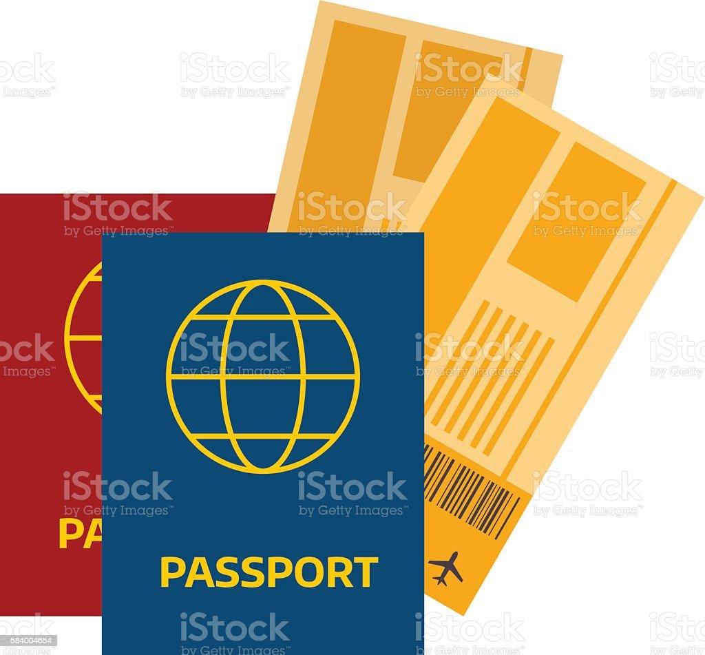 Vector illustration passport with tickets. vector art illustration