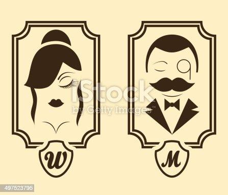 Bathroom Sign Man And Woman vector illustration retro style man woman restroom bathroom sign