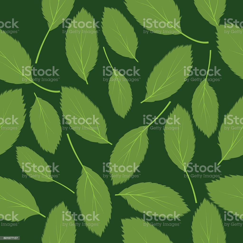 Vector illustration seamless pattern green leaves on green background vector art illustration
