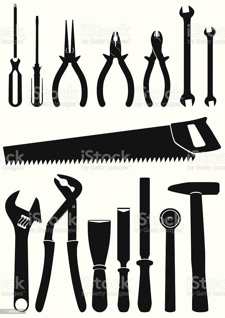 Vector illustration set of 15 different hand tools royalty-free stock vector art