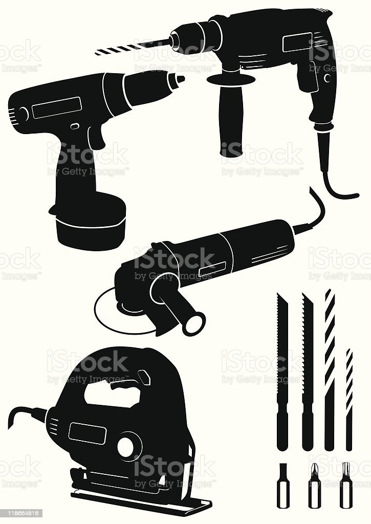 Vector illustration set of 4 different power tools royalty-free stock vector art