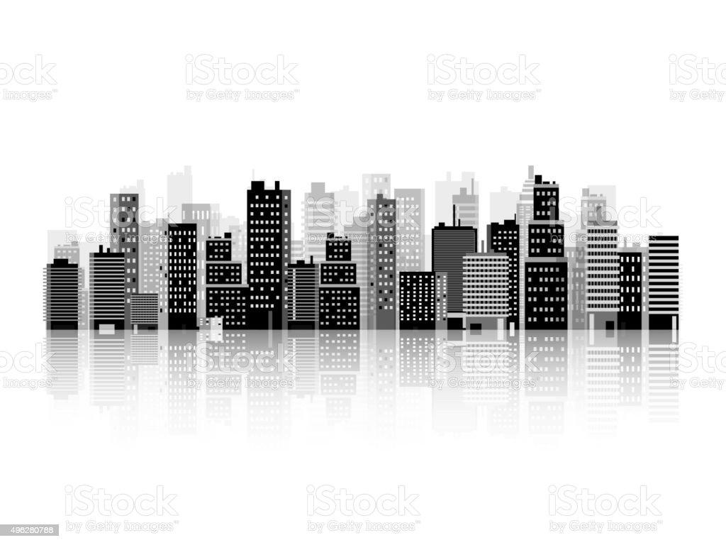 Vector illustration. Set of city silhouettes. Cityscape. Town skyline. Panorama vector art illustration