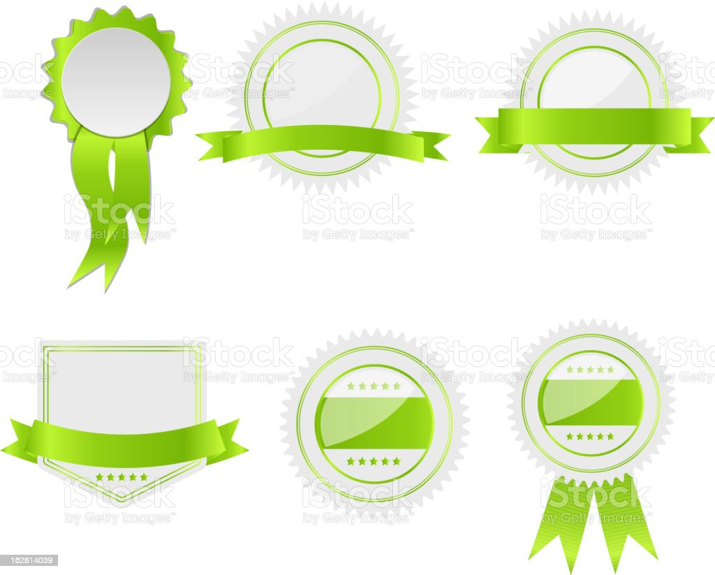 Vector illustration set of green and white labels vector art illustration