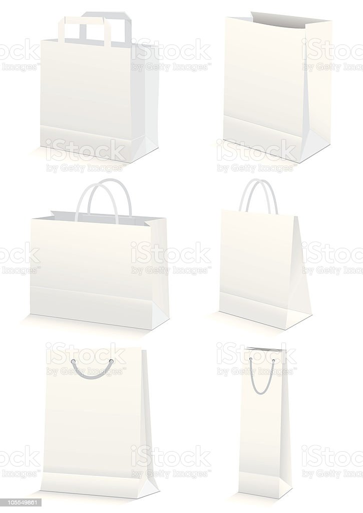 Vector illustration set of paper shopping or grocery bags. vector art illustration