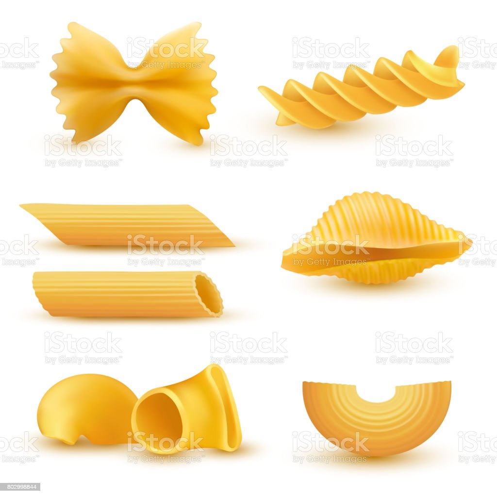 Vector illustration set of realistic icons of dry macaroni, pasta of various kinds vector art illustration