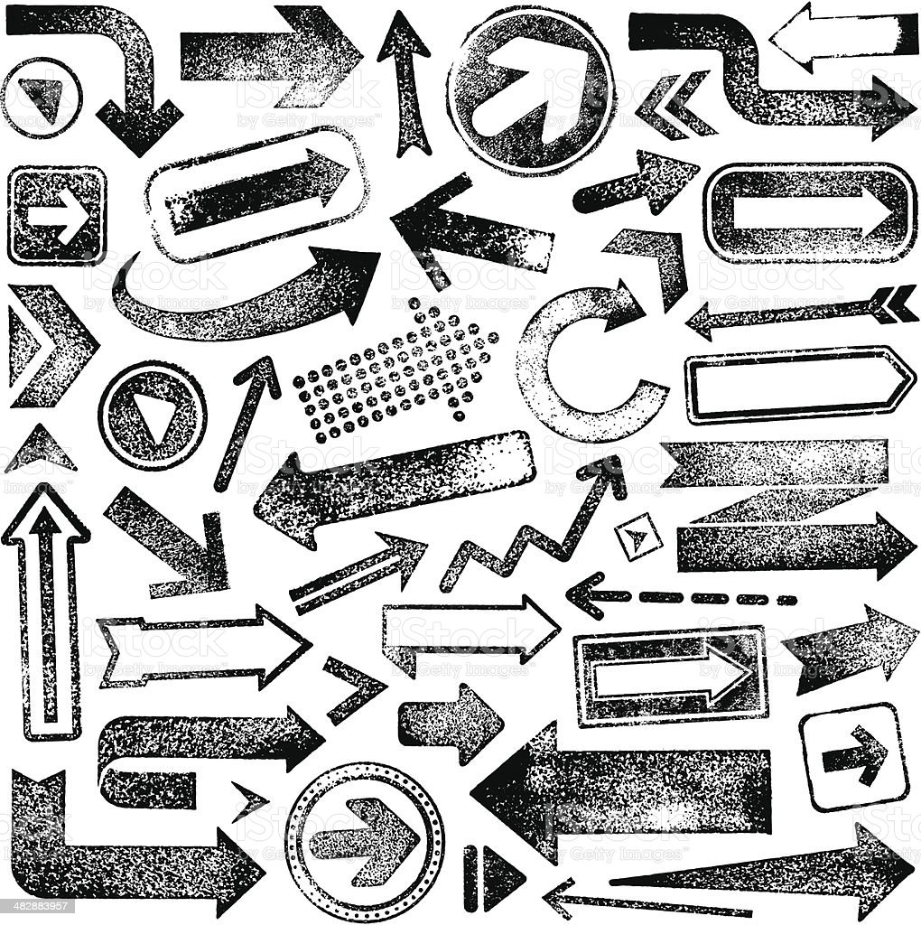 Vector illustration set of rubber stamp arrows vector art illustration