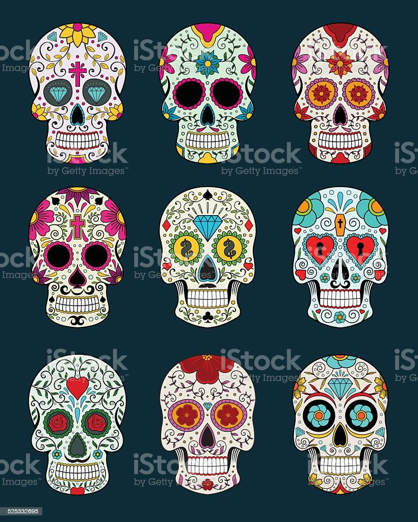 vector illustration set of skulls in mexican tradition vector art illustration