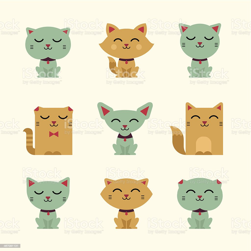 Vector illustration set of smiling cats vector art illustration