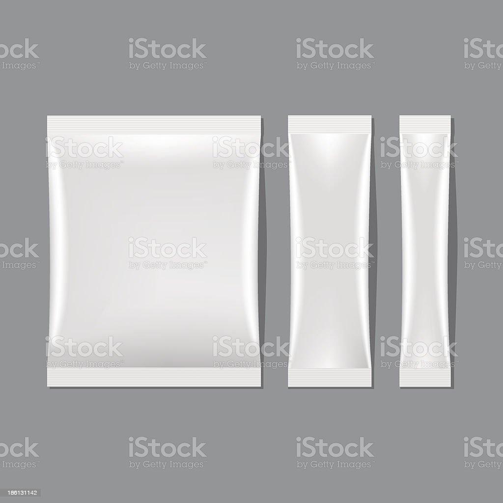 Vector illustration set of white sachets in three sizes vector art illustration