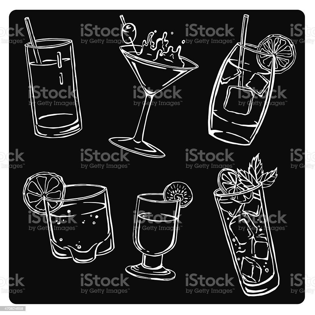 vector illustration silhouettes of different drinks vector art illustration