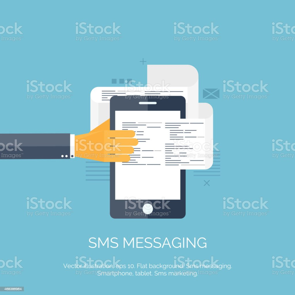 Vector illustration. Sms. Communication. Social network. Smartphone vector art illustration