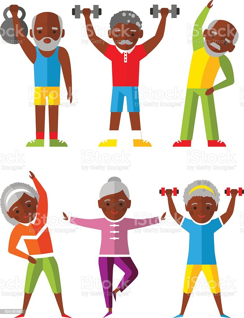 Vector illustration sport healthy and leisure old people activities vector art illustration