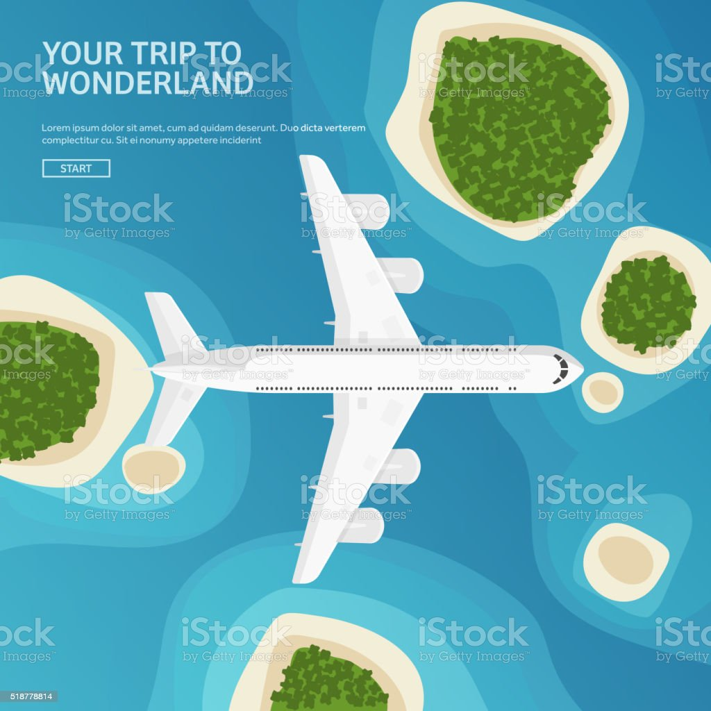 Vector illustration. Travel and tourism. Airplane, aviation. Summer holidays, vacation vector art illustration