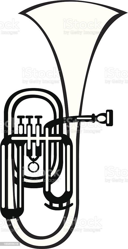 vector illustration tuba alto horn on white background vector art illustration