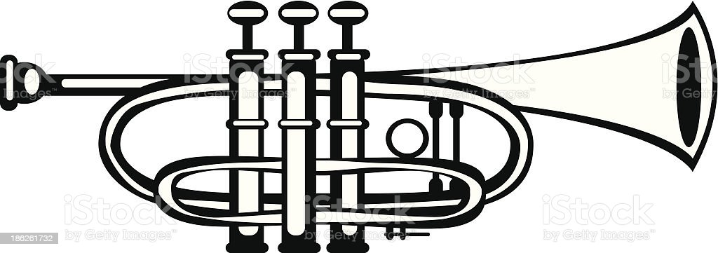 vector illustration tuba cornet on white background vector art illustration