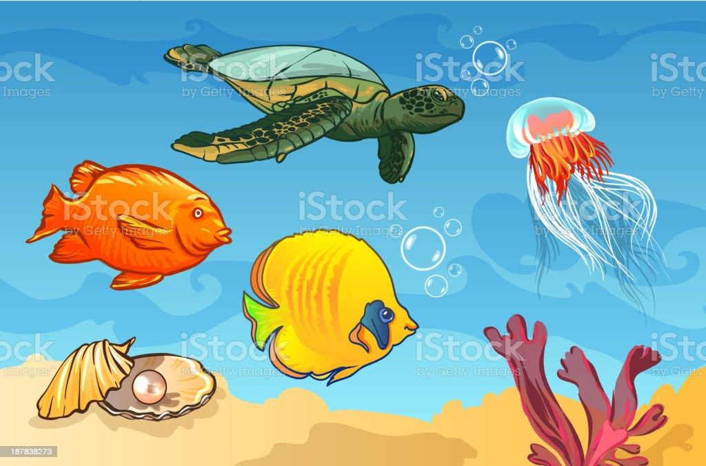 vector illustration. underwater world with marine animals royalty-free stock vector art