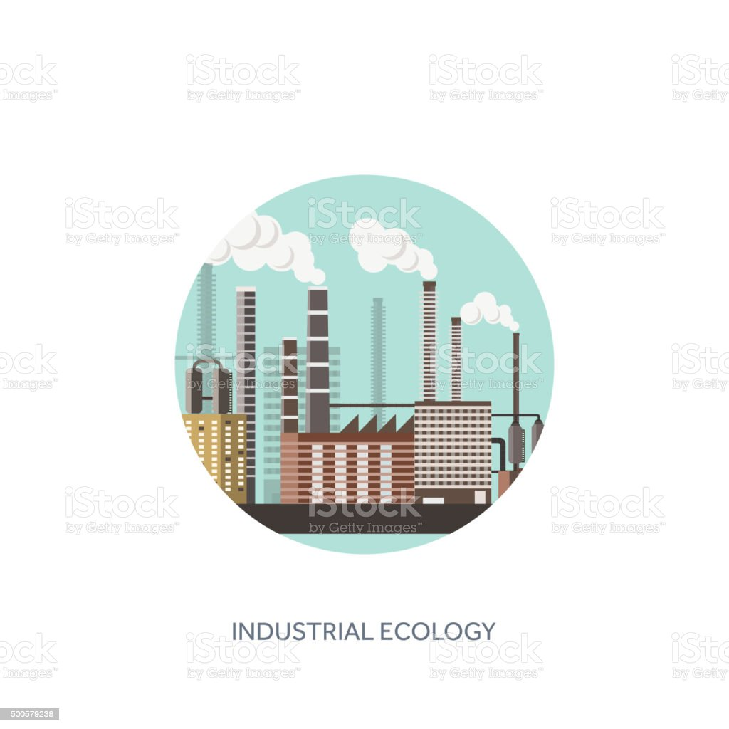 Vector illustration. Urbanisation, industrialisation. Industrial revolution. Pipe. Air pollution. Oil vector art illustration