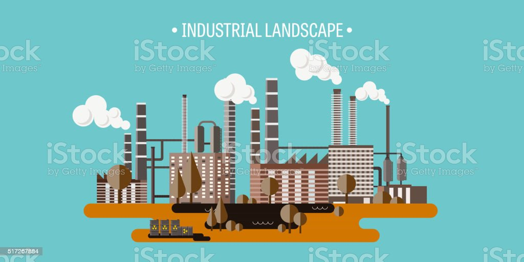Vector illustration. Urbanization. Industrial revolution. Pipe. Air pollution. Oil and vector art illustration