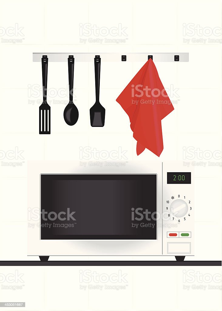Vector illustration (microwave plus kitchen appliances) royalty-free stock vector art