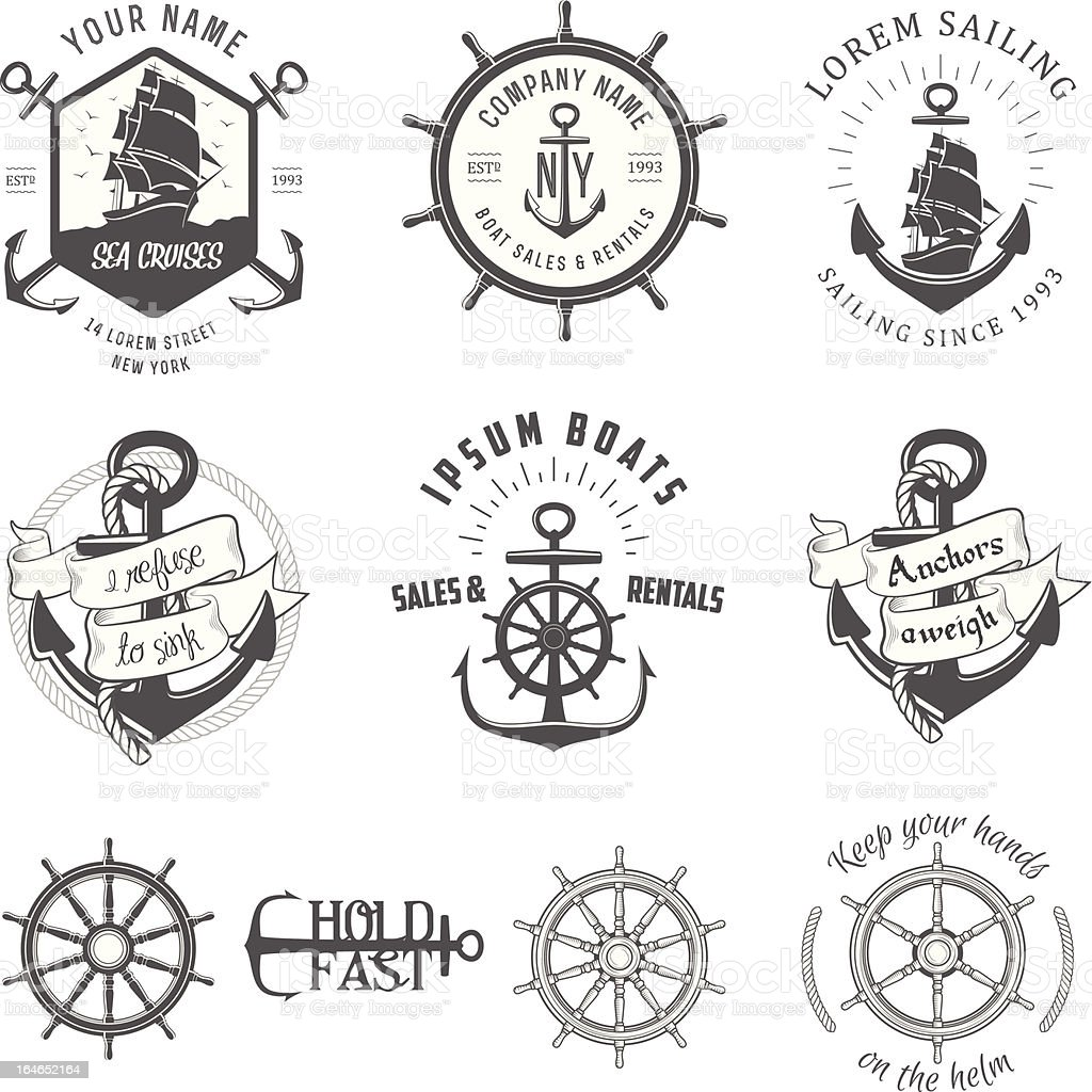 Vector illustration, vintage nautical label icons royalty-free stock vector art