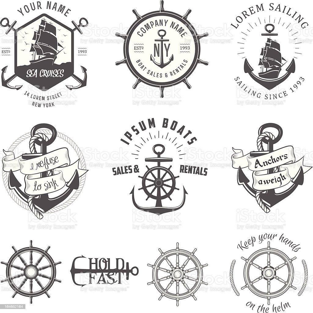Vector illustration, vintage nautical label icons vector art illustration