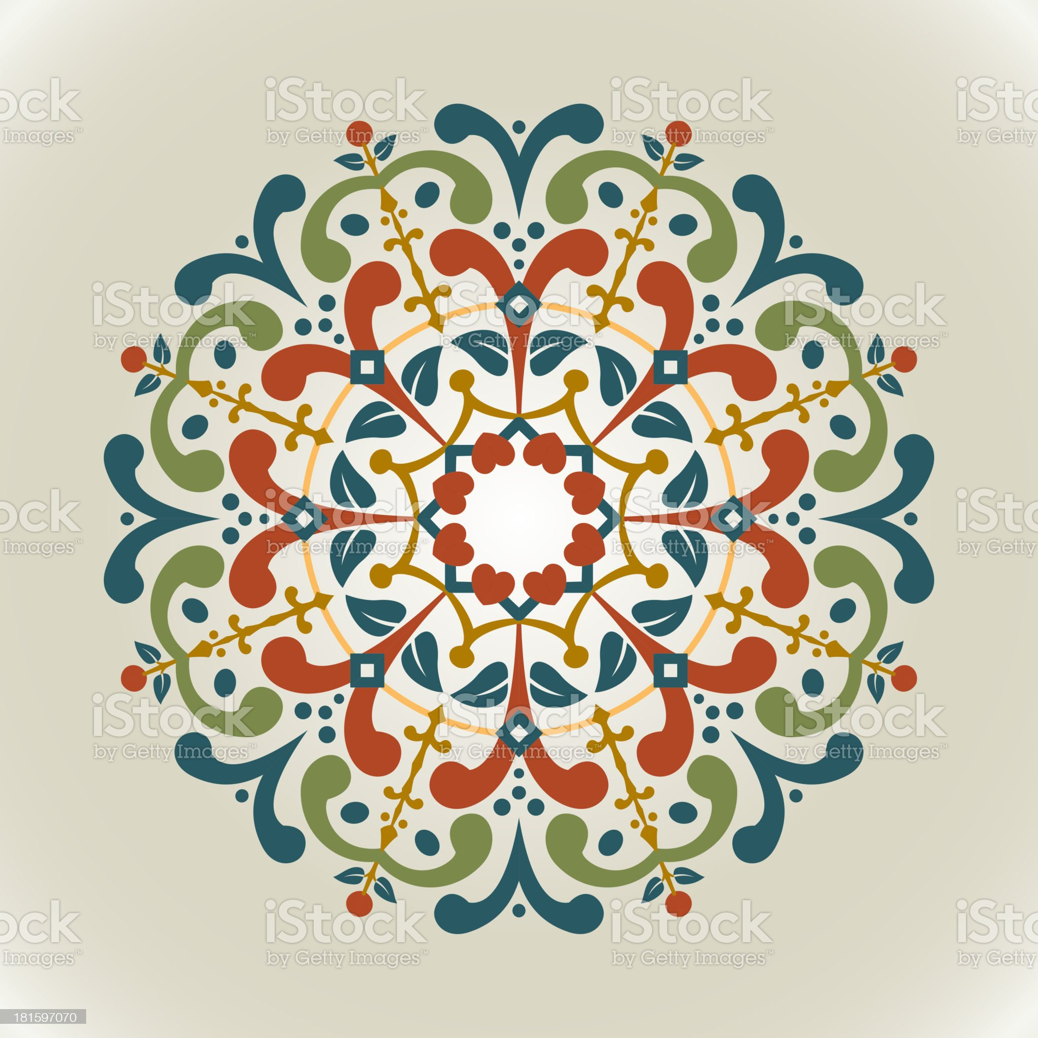 Vector illustration, vintage, with radial ornament. royalty-free stock vector art