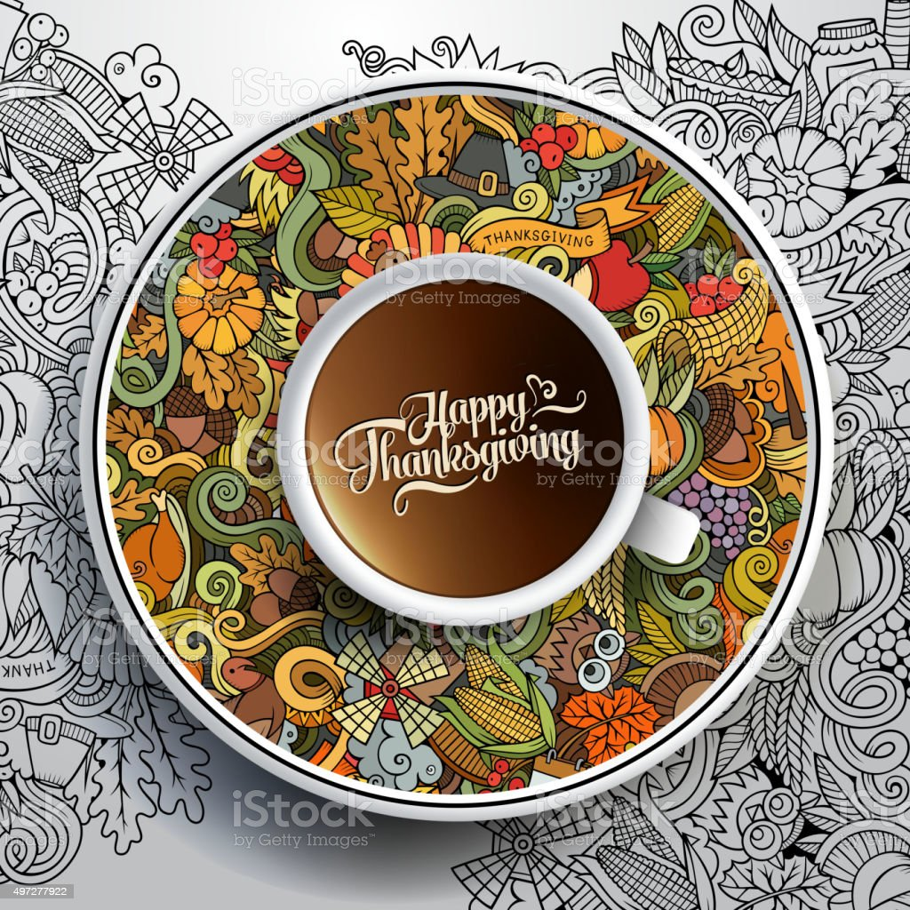 Vector illustration with a Cup and Thanksgiving doodles vector art illustration