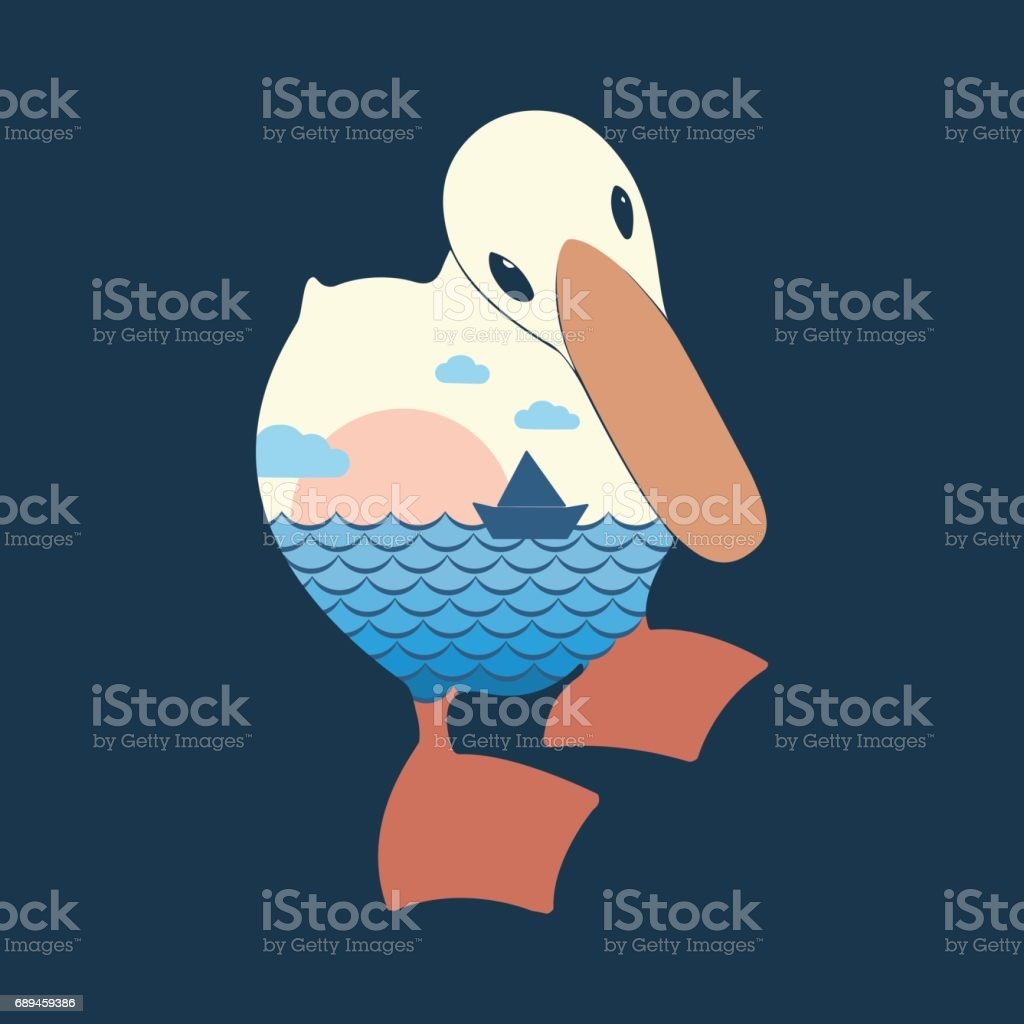 Vector illustration with a silhouette of a duckling. vector art illustration