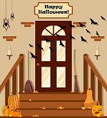Vector illustration with backyard, stairs, pumpkins, bat in flat style.