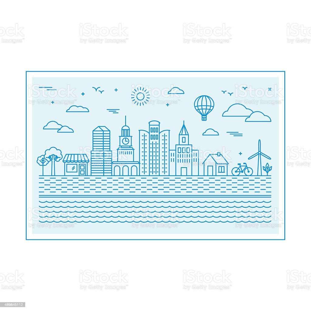 Vector illustration with city skyline vector art illustration