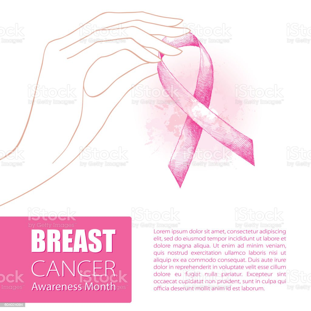 Vector illustration with contour woman hand and pink ribbon isolated. vector art illustration