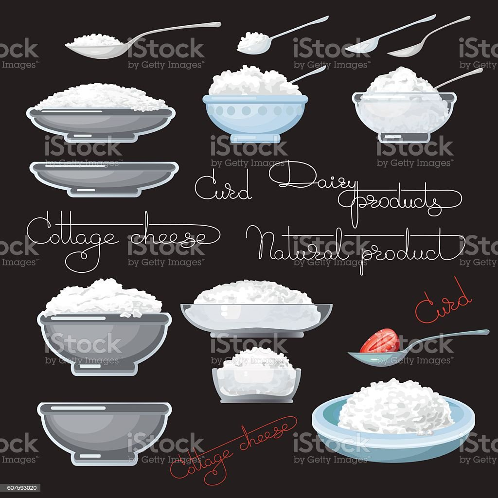 Vector illustration with cottage cheese, strawberry, spoons. vector art illustration