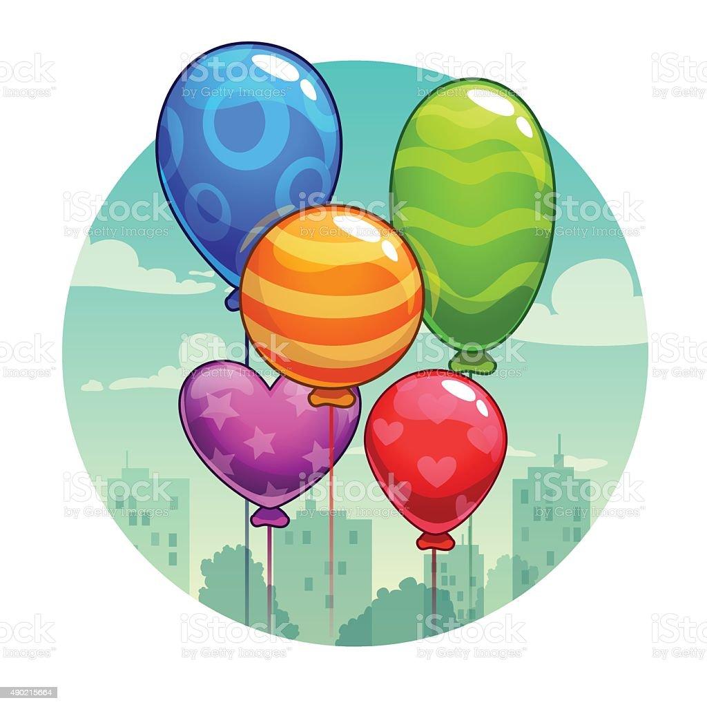 Vector illustration with cute cartoon balloons vector art illustration