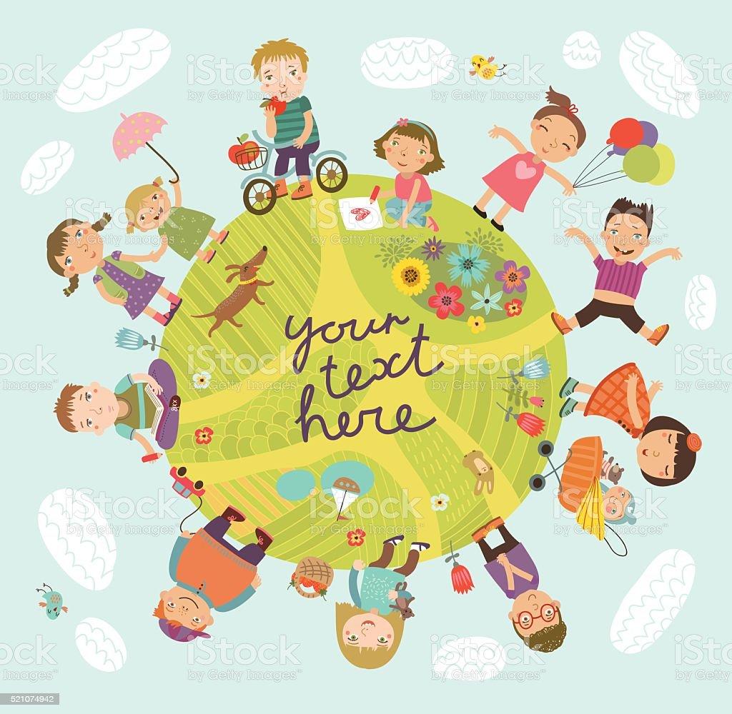 Vector illustration with cute kids.Planet of children. vector art illustration