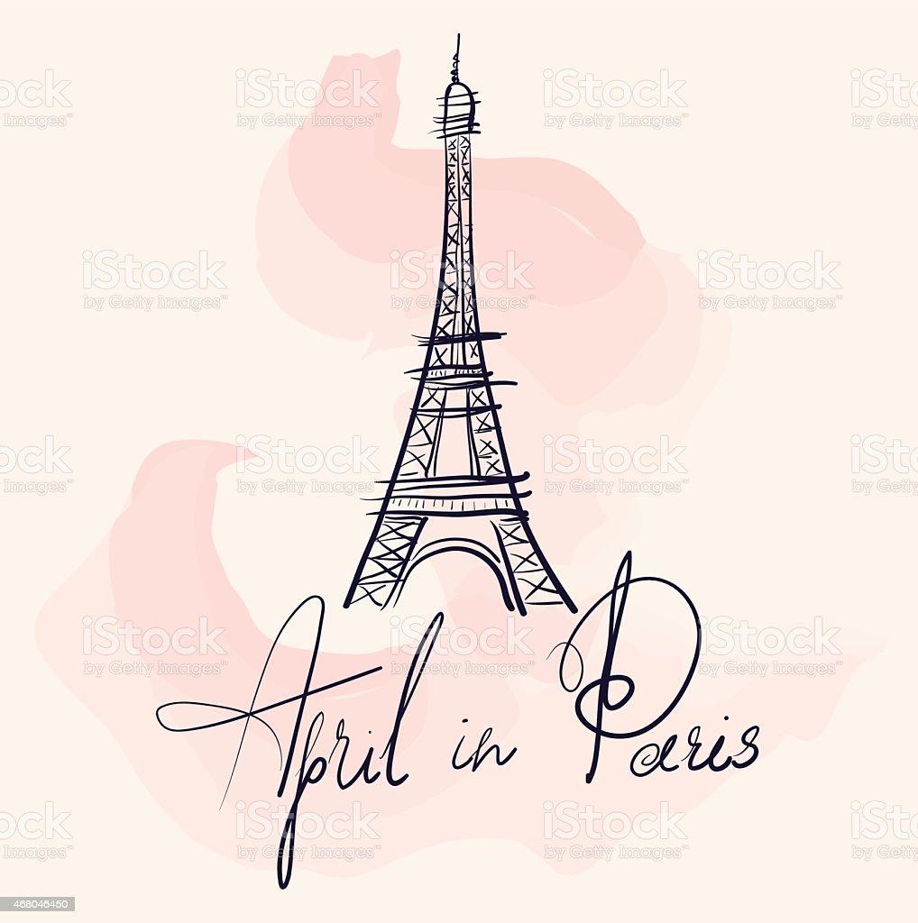 Vector illustration with Eiffel tower vector art illustration